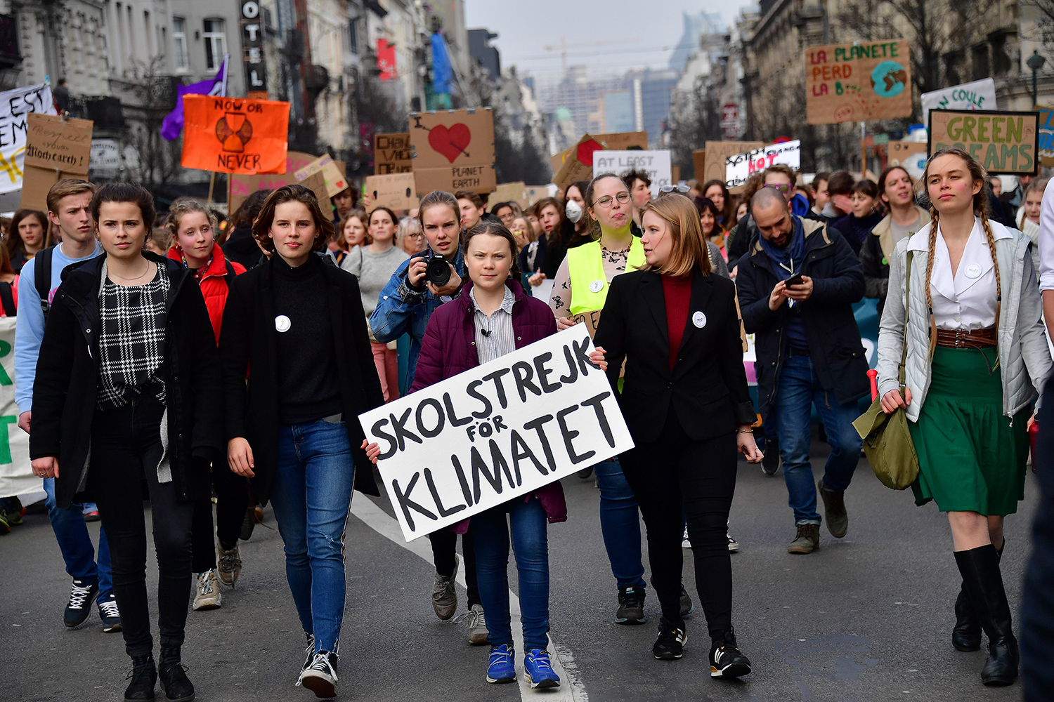 BELGIUM | Greta Thunberg attends the Youth for Climate march in Brussels on Feb. 21.  EMMANUEL DUNAND/AFP via Getty Images
