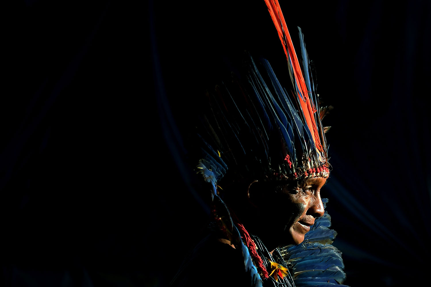 An indigenous man from the Arara tribe poses at a protest camp in Brasilia on April 25. Approximately 4,000 indigenous people from different tribes are taking part in protests during the Indigenous National Mobilization week, which seeks to tackle territorial rights' negotiations with the government. CARL DE SOUZA/AFP/Getty Images