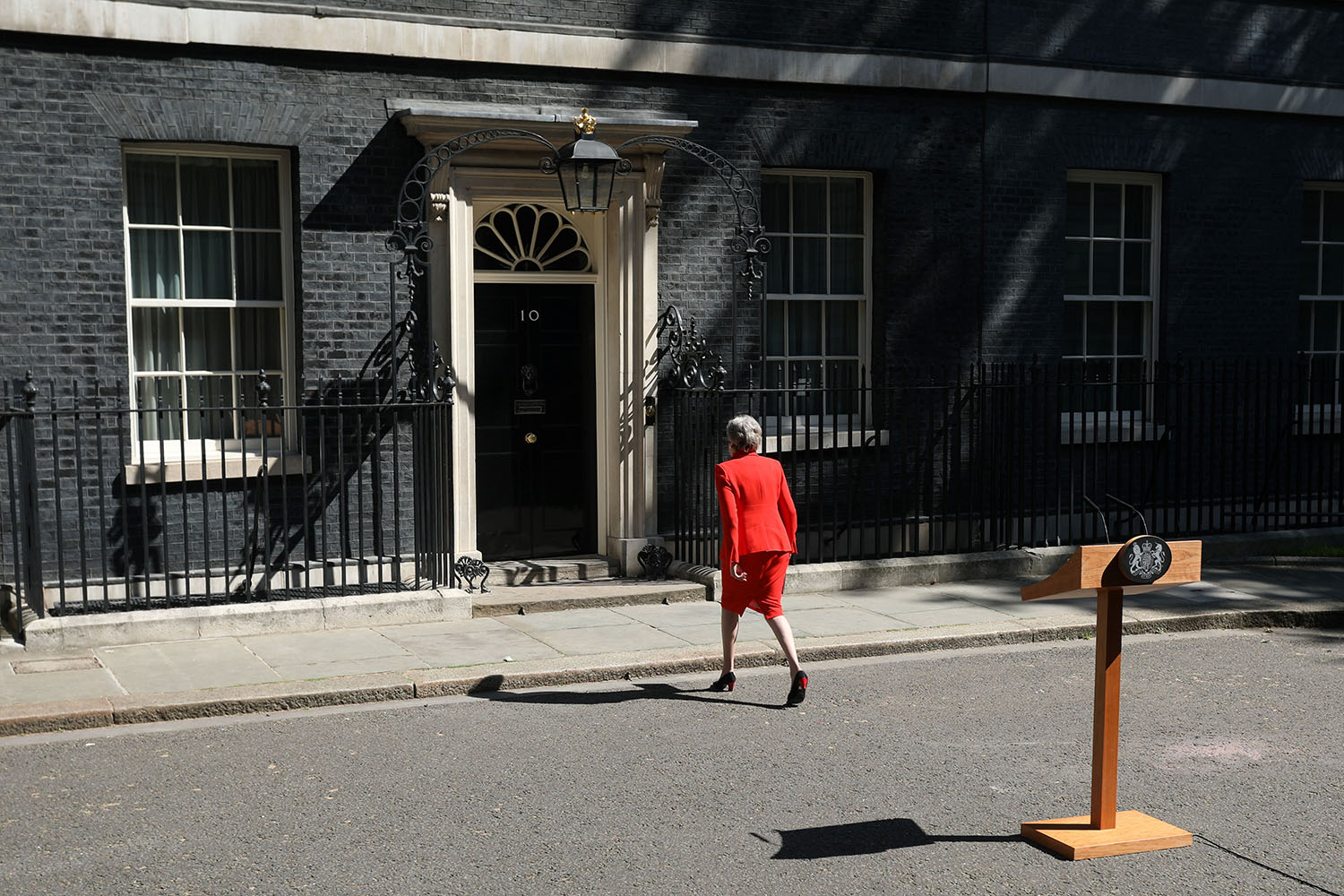 Theresa May leaves after announcing her resignation as Britain's prime minister outside 10 Downing Street in London on May 24. ISABEL INFANTES/AFP via Getty Images