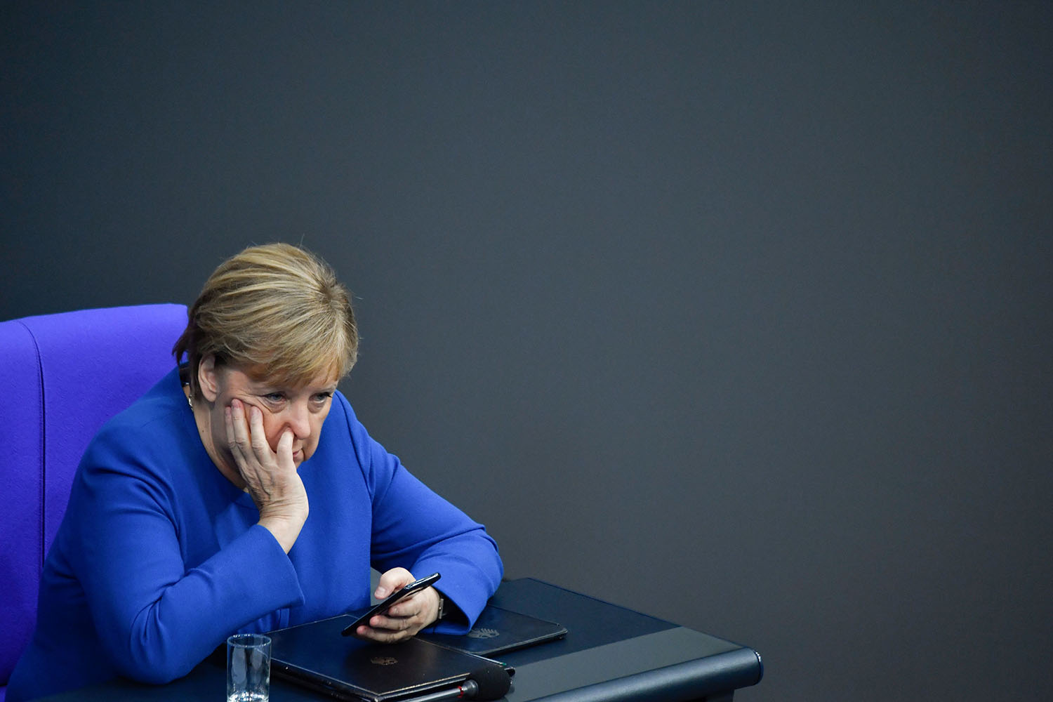 German Chancellor Angela Merkel attends a plenary session in Berlin on Oct. 17. JOHN MACDOUGALL/AFP via Getty Images