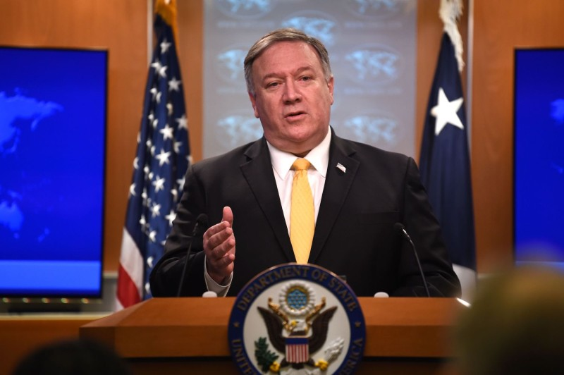 Secretary of State Mike Pompeo speaks to reporters.