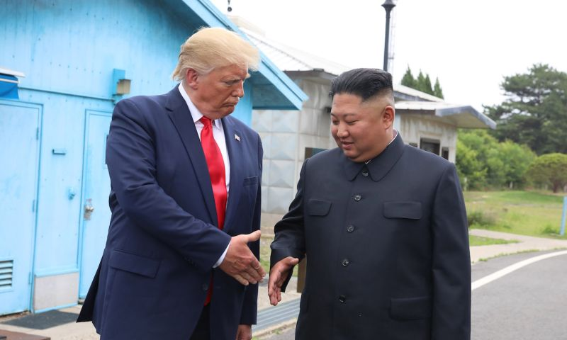 U.S. President Donald Trump meets with North Korean leader Kim Jong Un in the Joint Security Area of the Demilitarized Zone separating the two Koreas on June 30.