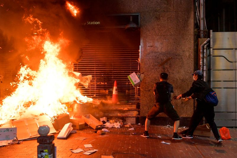 Protesters burn items in Hong Kong