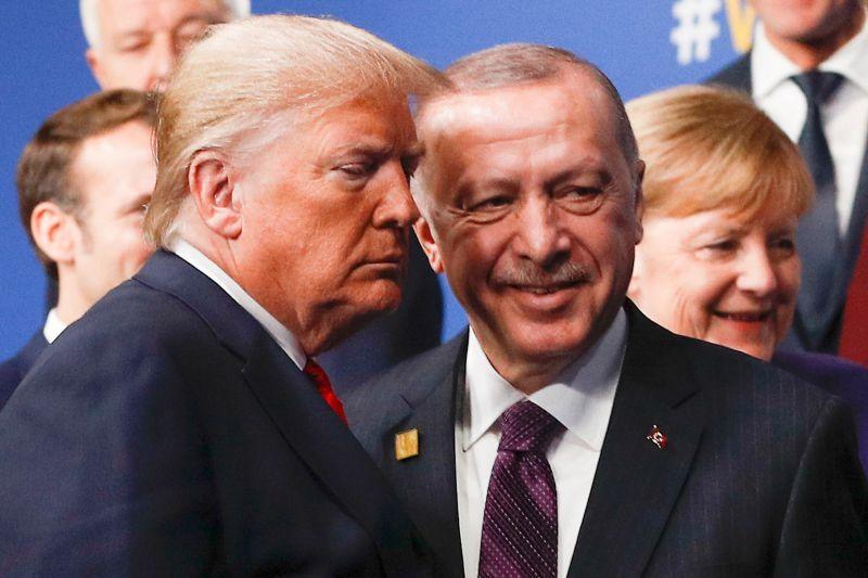U.S. President Donald Trump, left, and Turkish President Recep Tayyip Erdogan at the NATO summit in London on Dec. 4.