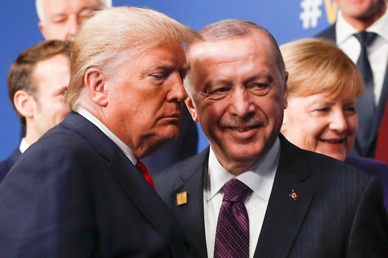 U.S. President Donald Trump, left, and Turkish President Recep Tayyip Erdogan at the NATO summit in London on Dec. 4.