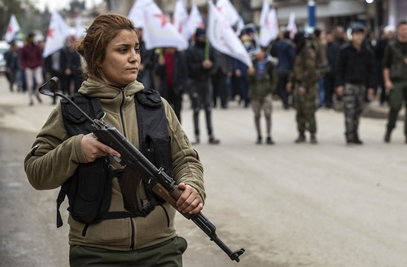 A member of the Kurdish Internal Security Police Forces of Asayish