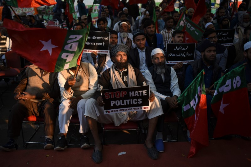 Demonstrators protest India's Citizenship Amendment Bill in New Delhi on Dec. 10.