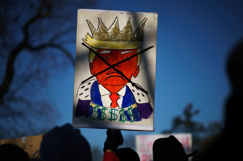 Protesters supporting the impeachment of U.S. President Donald Trump
