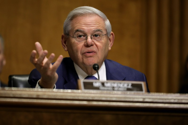 Sen. Robert Menendez speaks at a Senate Foreign Relations Committee hearing.