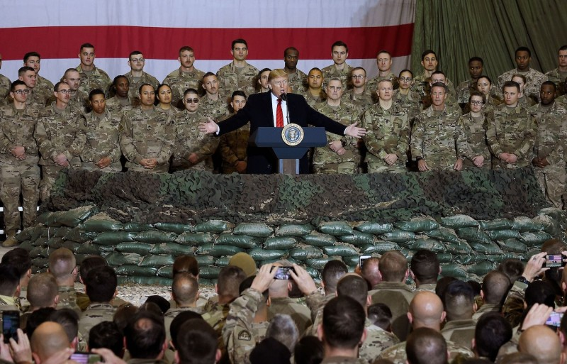 U.S. President Donald Trump speaks to U.S. troops during a surprise Thanksgiving Day visit at Bagram Airfield in Afghanistan on Nov. 28.
