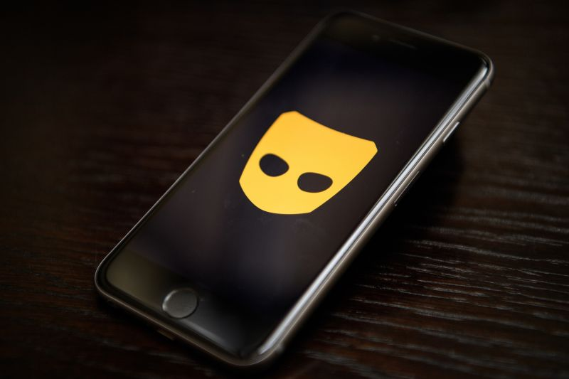 The Grindr app logo is seen on a mobile phone screen in London on Nov. 24, 2016.