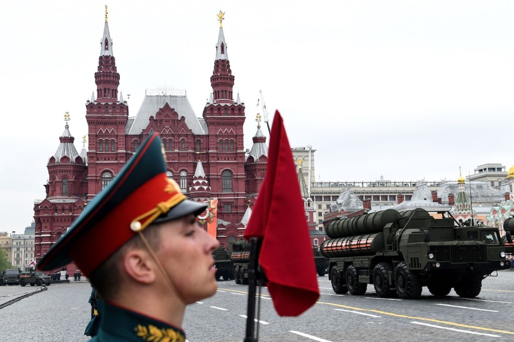 A Russian S-400 Triumph air defense missile system is paraded through Red Square during a rehearsal for the Victory Day military parade in Moscow on May 6, 2018.