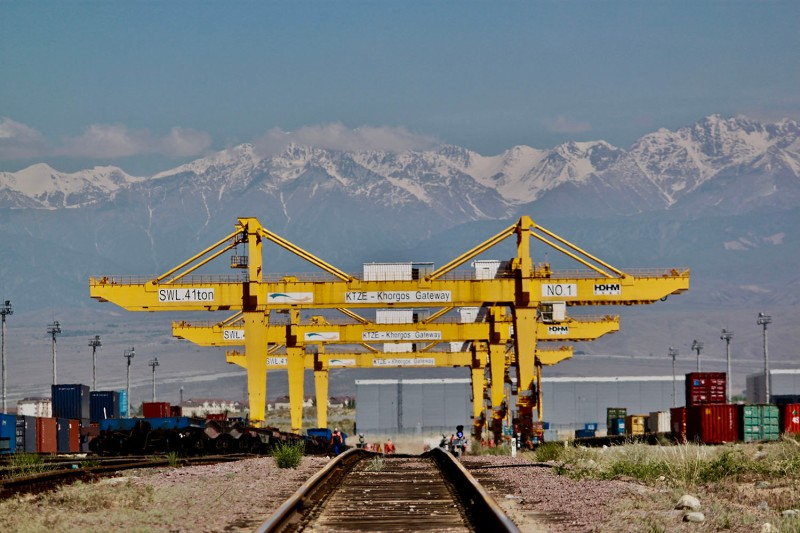 Railway tracks lead into the dry port at Khorgos on the border between Kazakhstan and China on May 29.