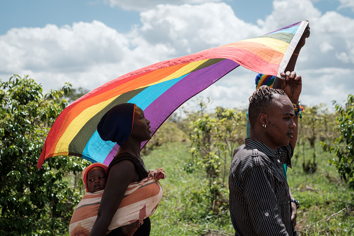 KENYA | LGBT refugees from South Sudan, Uganda, and Democratic Republic of the Congo walk to a protest to demand their protection at the office of the United Nations High Commissioner for Refugees in Nairobi on May 17. YASUYOSHI CHIBA/AFP via Getty Images