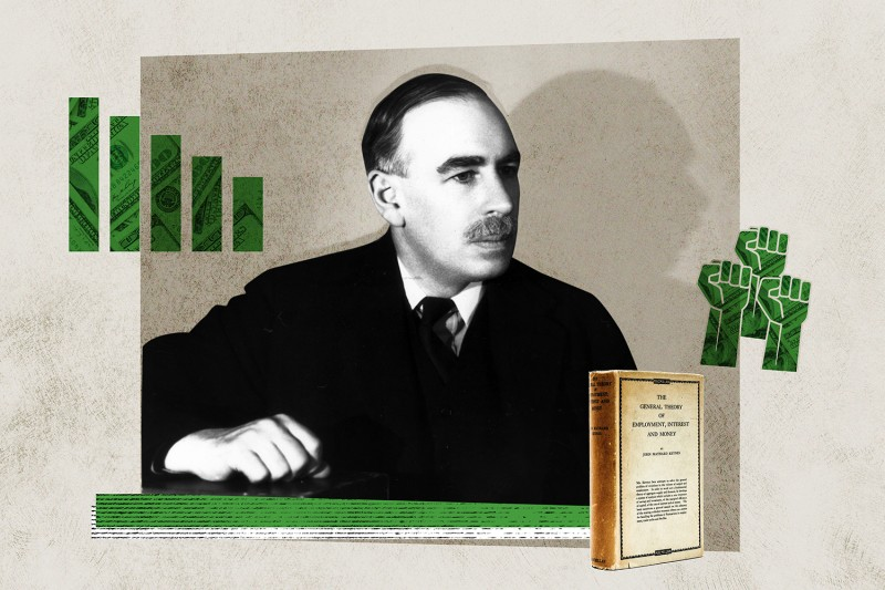 John Maynard Keynes. Foreign Policy illustration/Gordon Anthony/Getty Images