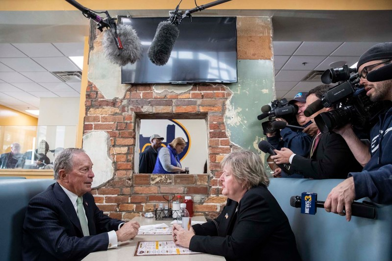 Former New York Mayor Michael Bloomberg meets with Virginia House Delegate-elect Nancy Guy in Norfolk, Virginia, on Nov. 25.