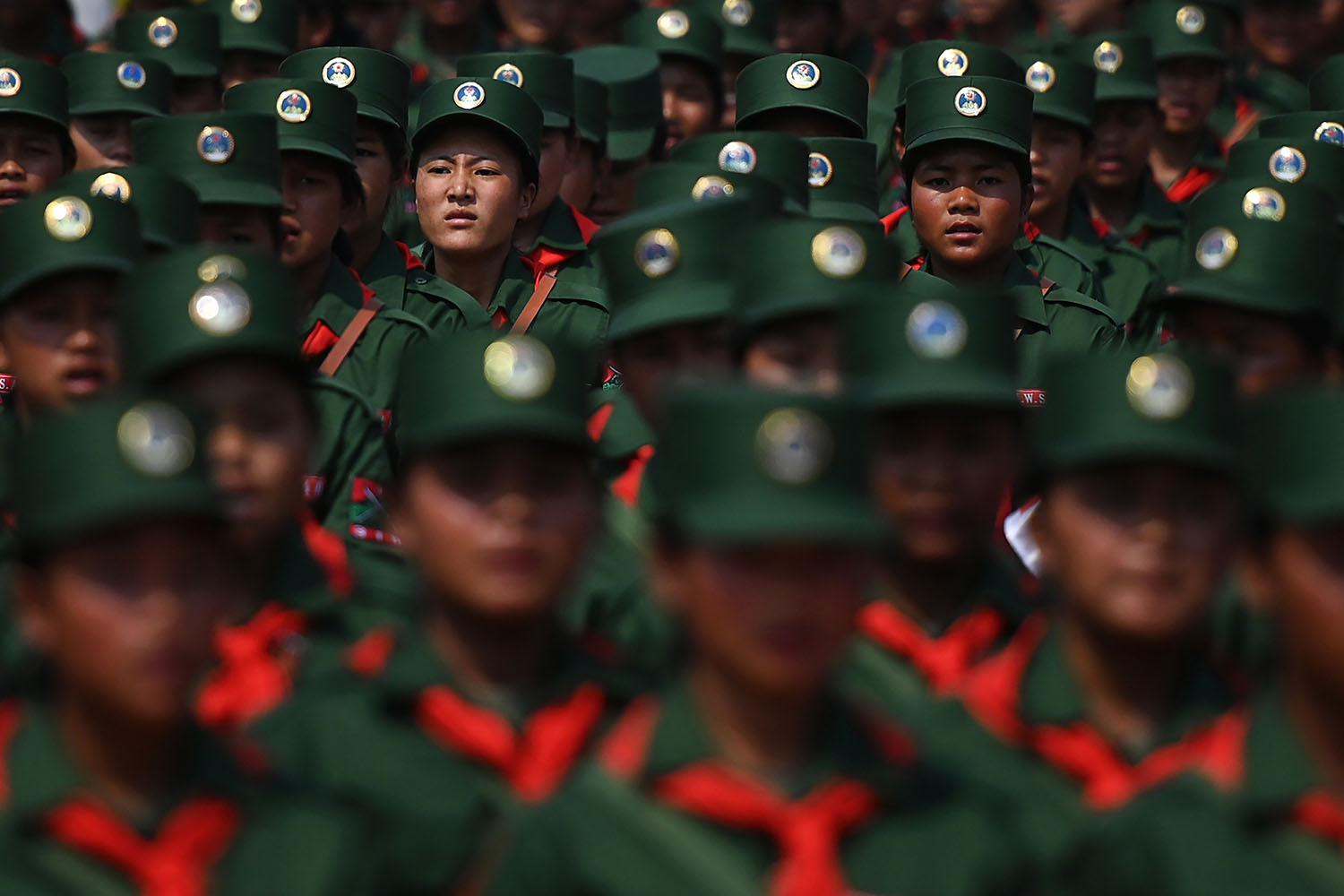 United Wa State Army (UWSA) soldiers participate in a military parade, to commemorate 30 years of a ceasefire signed with the Myanmar military in the Wa State in Panghsang on April 17. YE AUNG THU/AFP/Getty Images
