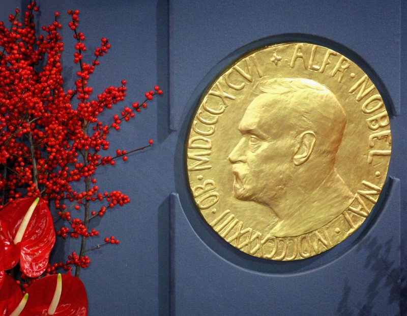 A plaque depicting Alfred Nobel at the Nobel Peace Prize Ceremony 2008 in Oslo City Hall on Dec. 10, 2008.