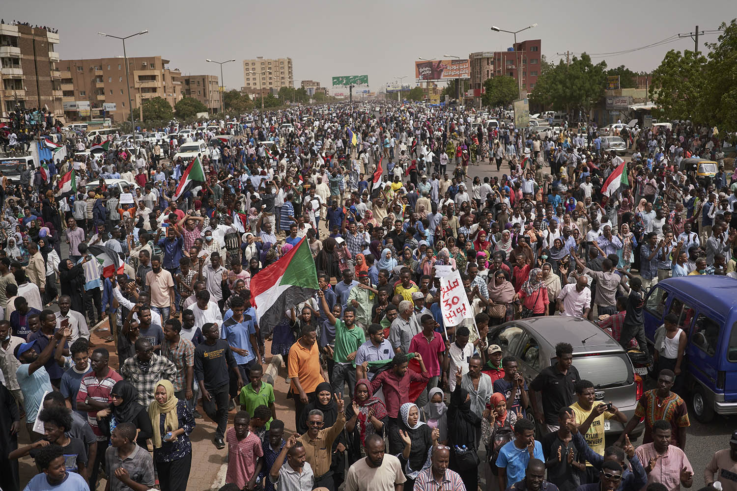 Protesters call for a civilian government during large protests in Khartoum on June 30.