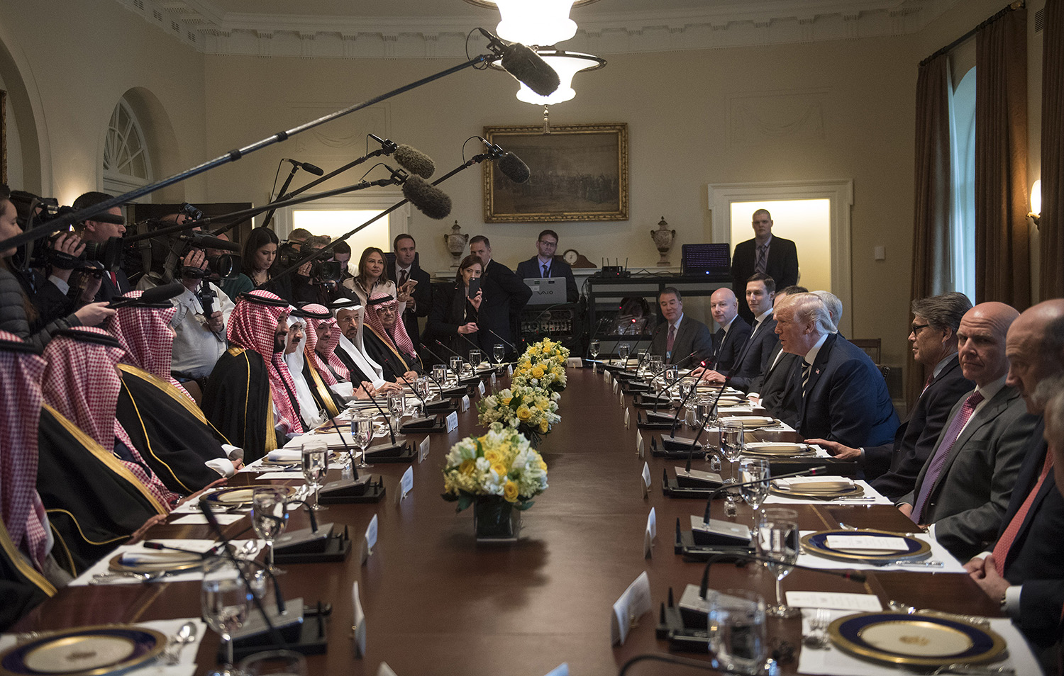 U.S. President Donald Trump holds a working lunch with Saudi Crown Prince Mohammed bin Salman at the White House in Washington on March 20, 2018.