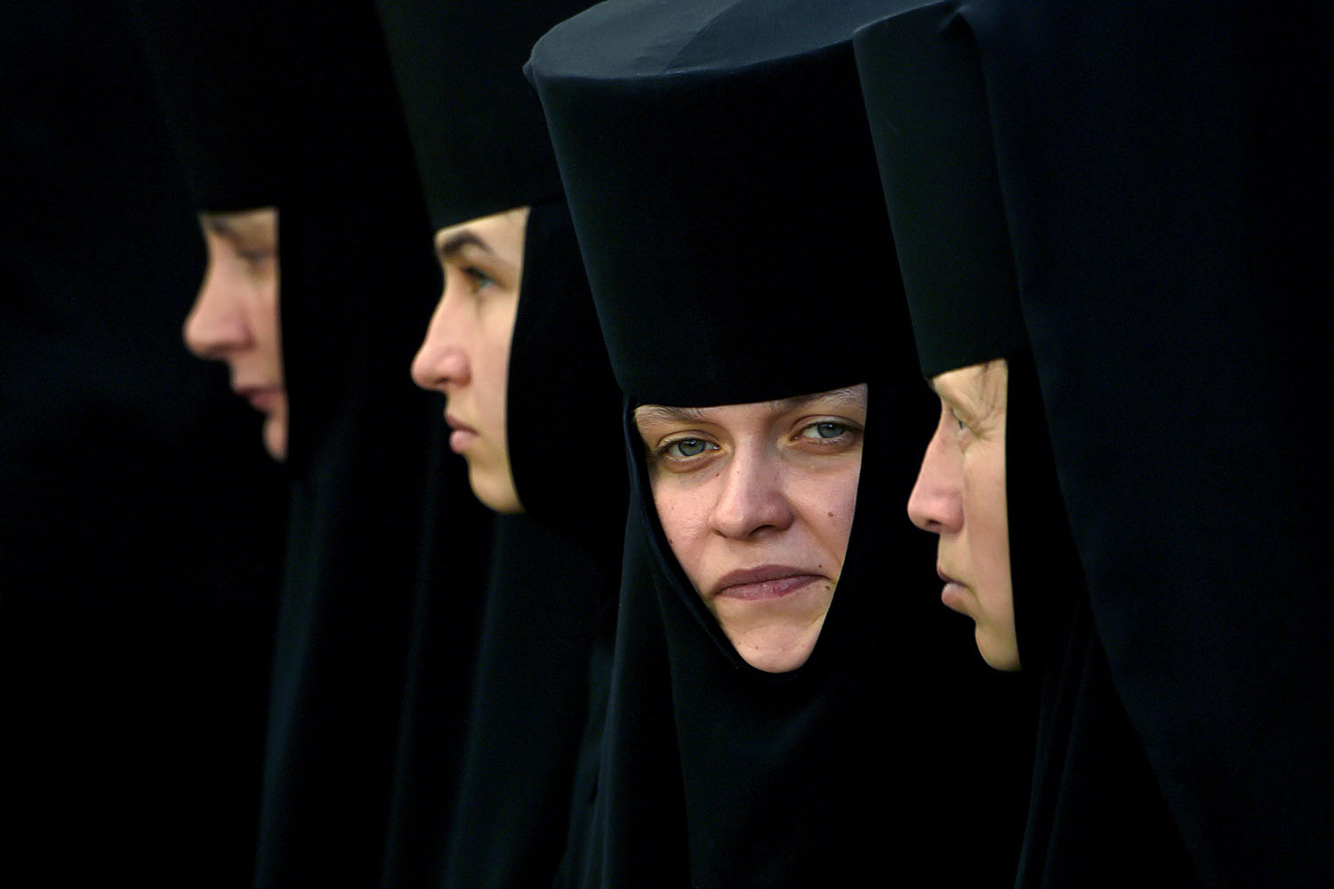 Orthodox nuns take part in a religious procession in Kyiv, Ukraine, on July 27. SERGEI SUPINSKY/AFP/Getty Images