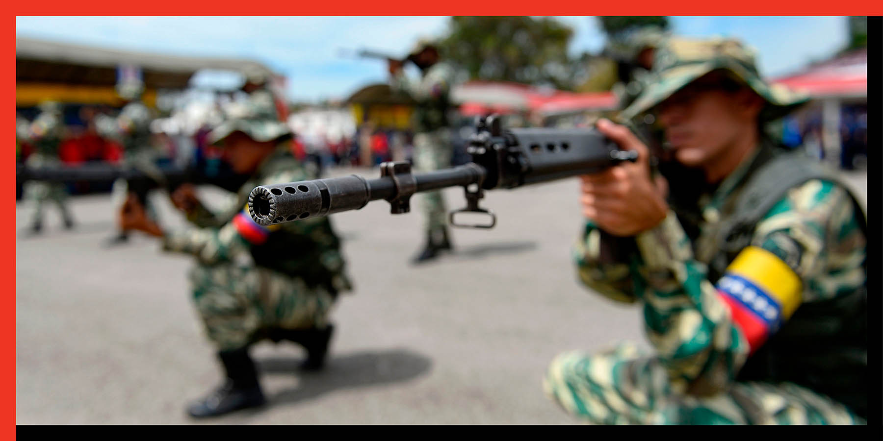 Members of the National Bolivarian Militia take part in military exercises in Caracas, Venezuela, on Sept. 16.