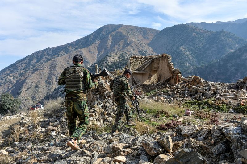 Afghan security forces take part in an ongoing operation against Islamic State militants in Nangarhar province, Afghanistan, on Nov. 25.