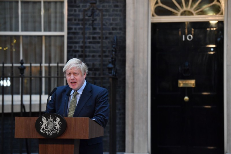 UK Prime Minister Boris Johnson delivers a speech outside 10 Downing Street in London, United Kingdom, on Dec. 13, 2019, following his Conservative Party's general election victory.