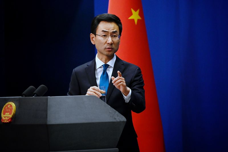 China's Ministry of Foreign Affairs spokesman Geng Shuang answers a question during a briefing in Beijing on Nov. 28.