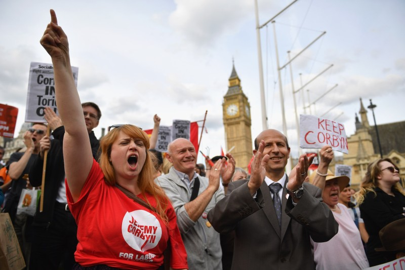 Supporters of Jeremy Corbyn rally outside Parliament on June 27, 2016 in London.