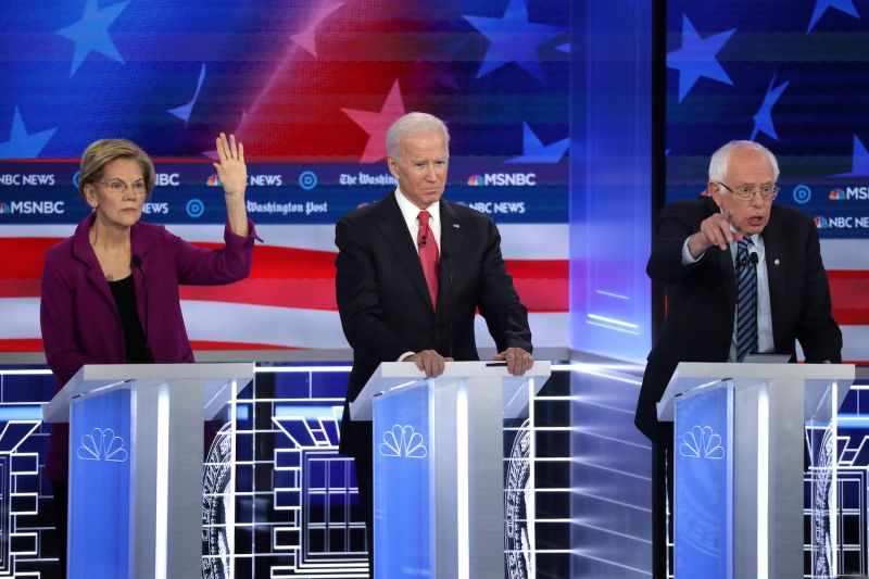 Sen. Elizabeth Warren, former Vice President Joe Biden, and Sen. Bernie Sanders participate in a Democratic presidential debate in Atlanta, Georgia, on Nov. 20.