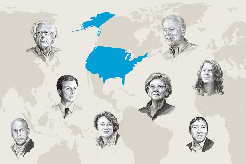 Candidate portraits by uli knörzer for Foreign Policy