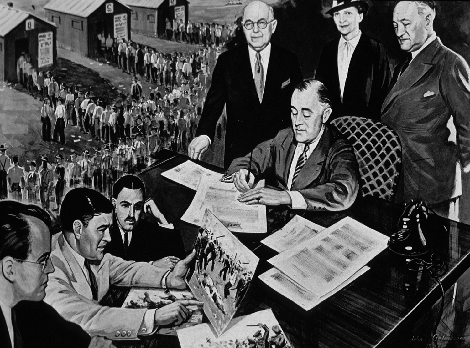 U.S. President Franklin Delano Roosevelt signs the National Labor Relations Act in a 1935 drawing.