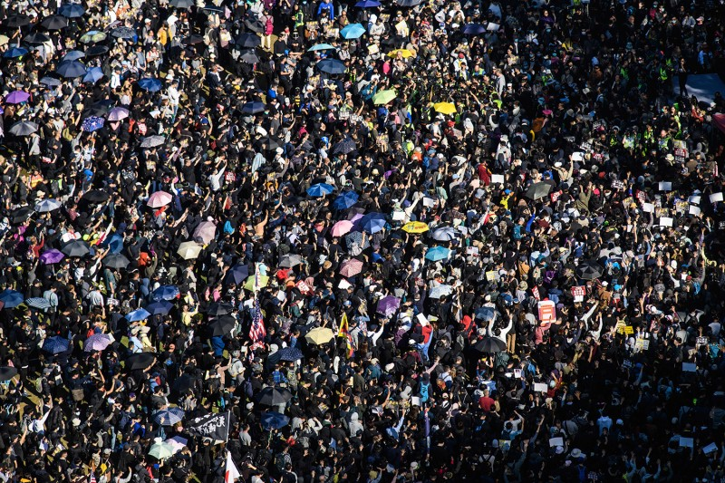People gather at Victoria Park for a pro-democracy rally in Hong Kong on Dec. 8.