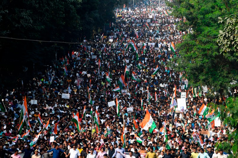 Protesters participate in a mass rally against the Indian government's Citizenship Amendment Act in Kolkata on Dec. 16.