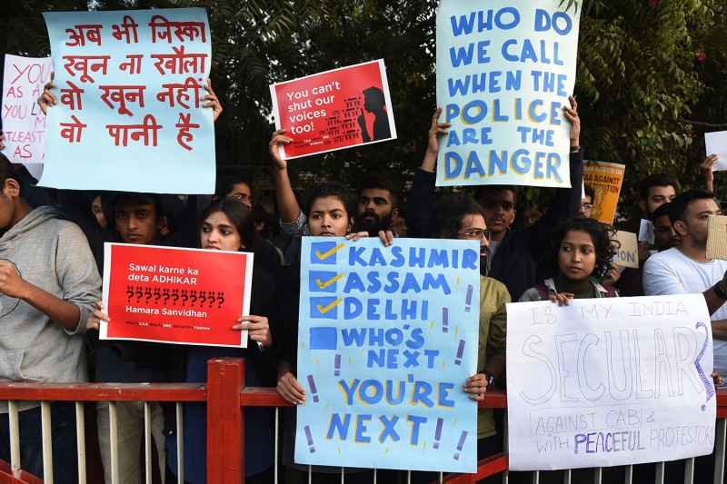 Students protest against India's new citizenship law in Ahmedabad on Dec. 17.
