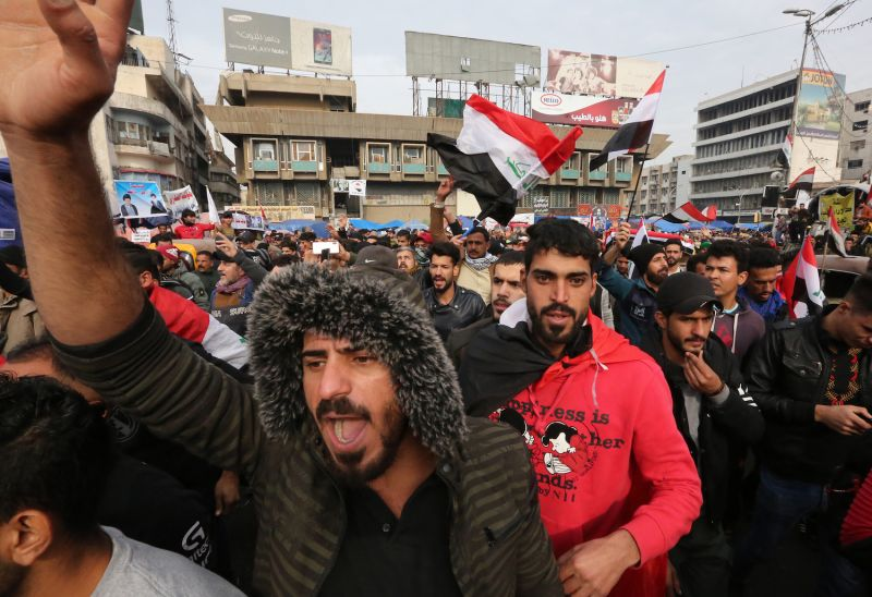 Protesters gather at Tahrir Square in Baghdad, Iraq, amid ongoing anti-government demonstrations.