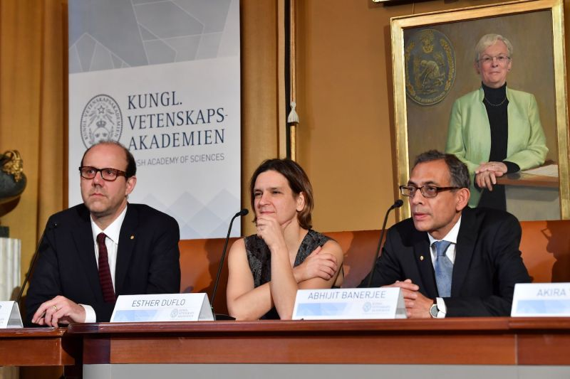 (From left) Nobel Laureates in Economic Sciences Michael Kremer, Esther Duflo, and Abhijit Banerjee attend a press conference at The Royal Swedish Academy of Sciences.