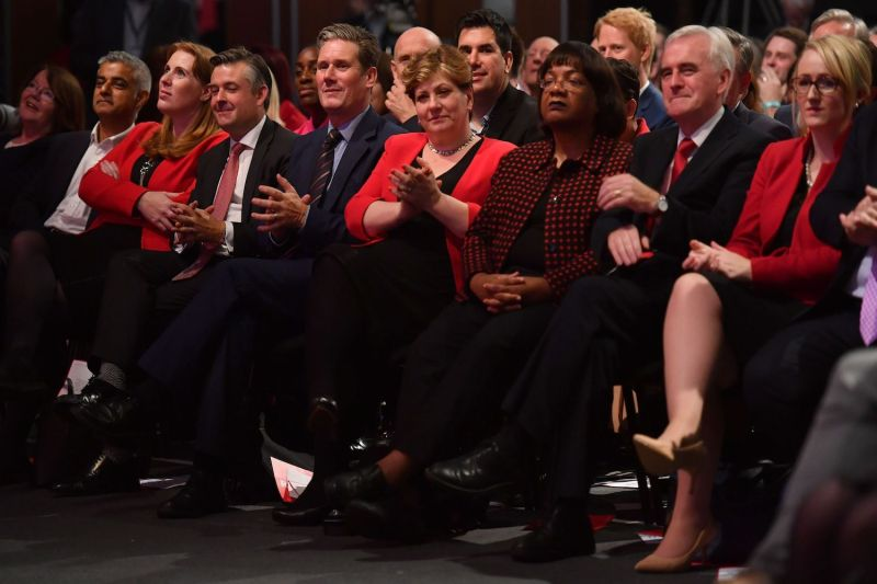 Labour Party members, including several current contenders for the party's leadership, applauded as Jeremy Corbyn delivered a speech on the final day of the Labour Party Conference in Brighton on Sept. 27, 2017.