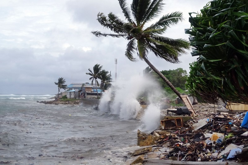 Waves hit the shore in Majuro, the capital city of the Marshall Islands, one of the small islands nations pushing for U.N. action at COP25.