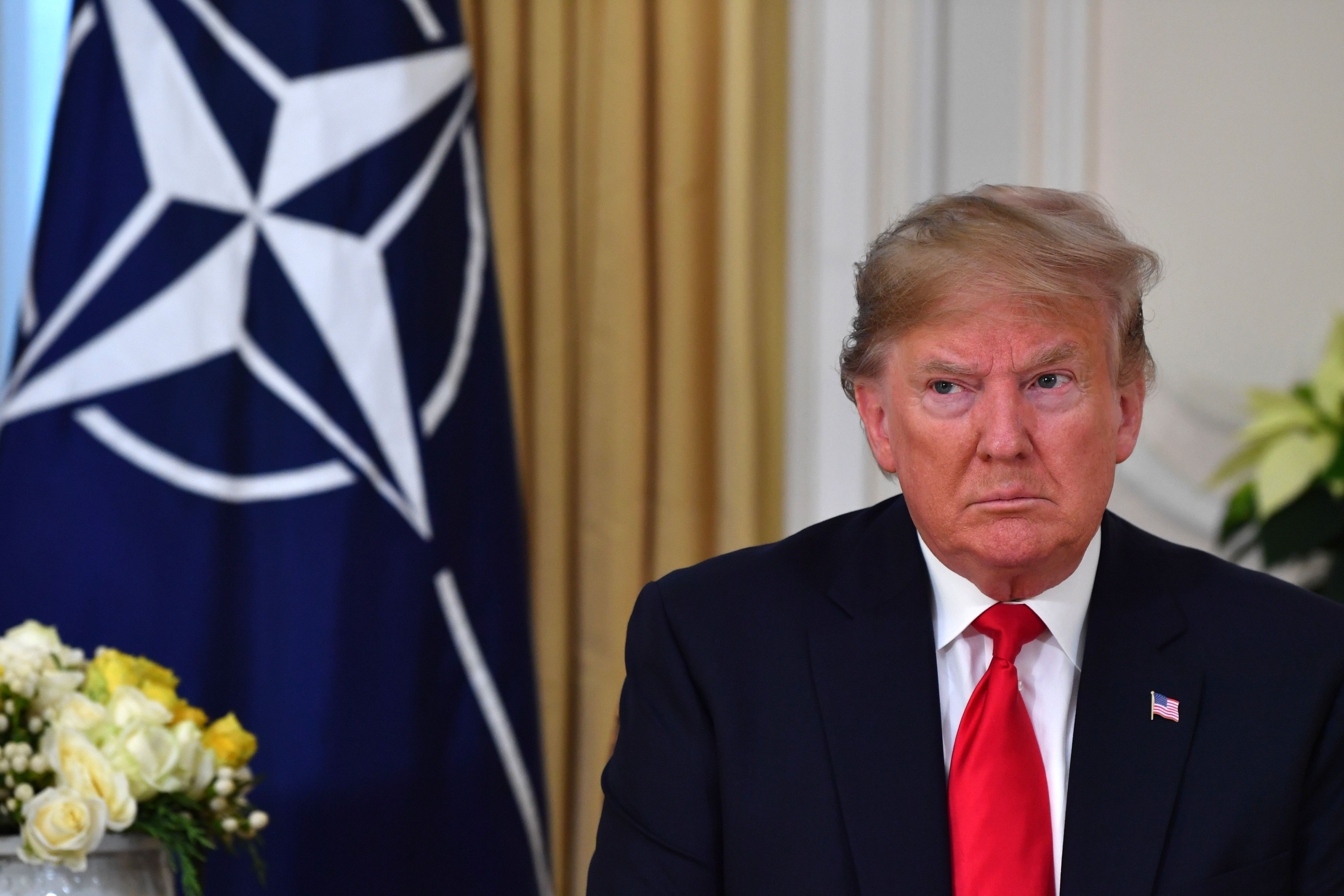 US President Donald Trump speaks during his meeting with Nato Secretary General Jens Stoltenberg at Winfield House, London on Dec. 3, 2019.