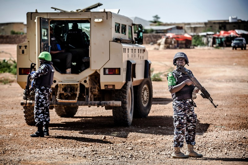 A policemen deployed as part of the African Union peacekeeping mission patrol in Beledweyne, Somalia, on Dec. 14.