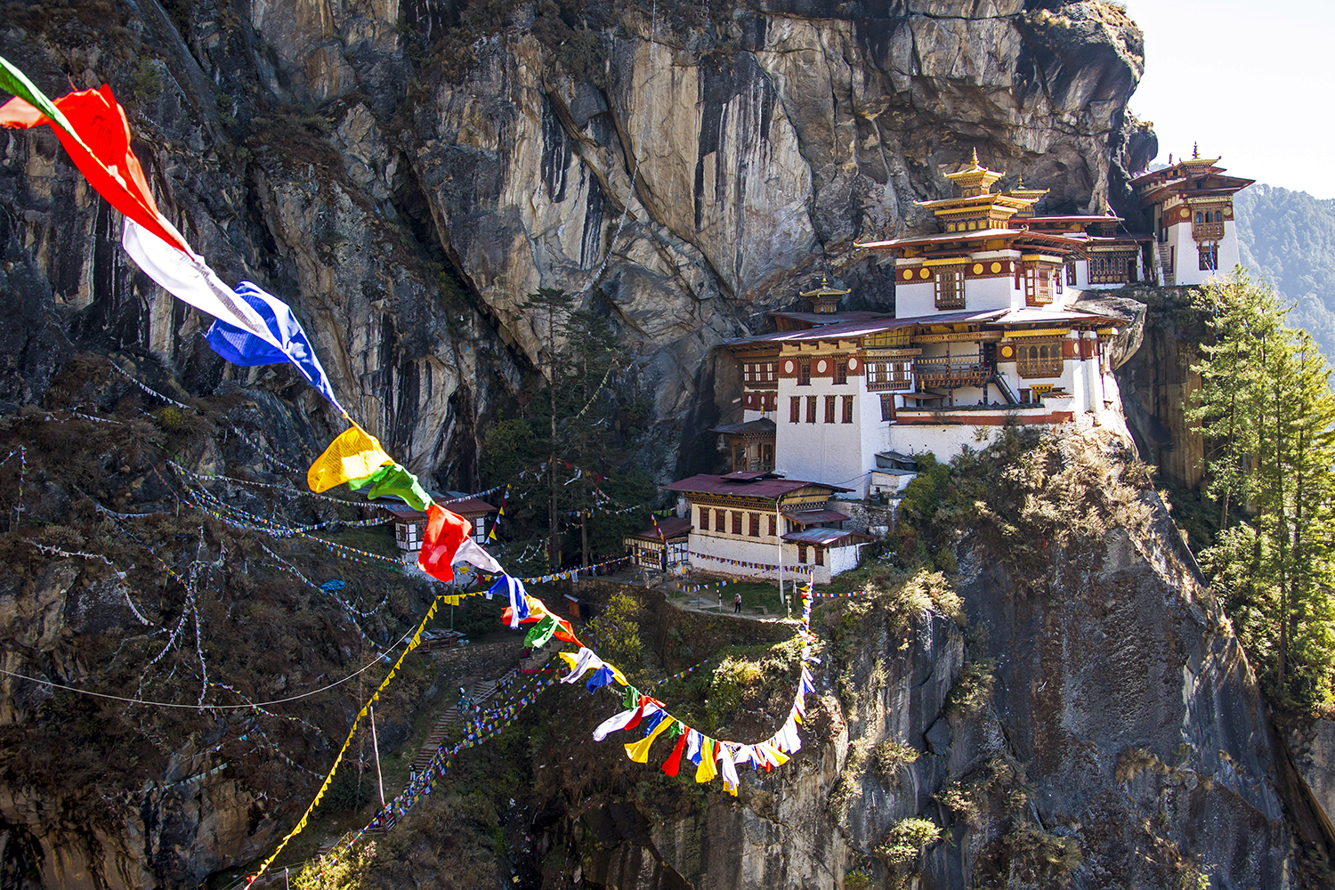 Tibet prayer flags at Paro Taktsang, a sacred site and temple complex near Thimphu, Bhutan, on Nov. 8, 2012.