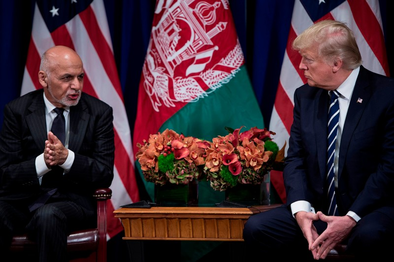 Afghanistan's President Ashraf Ghani speaks with U.S. President Donald Trump during the 72nd U.N. General Assembly on Sept. 21, 2017, in New York.