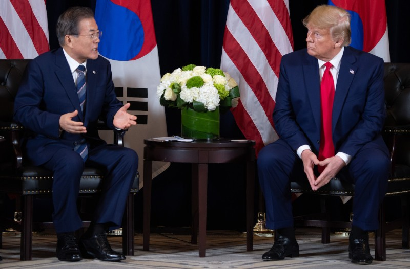 U.S. President Donald Trump, right and South Korean President Moon Jae-in