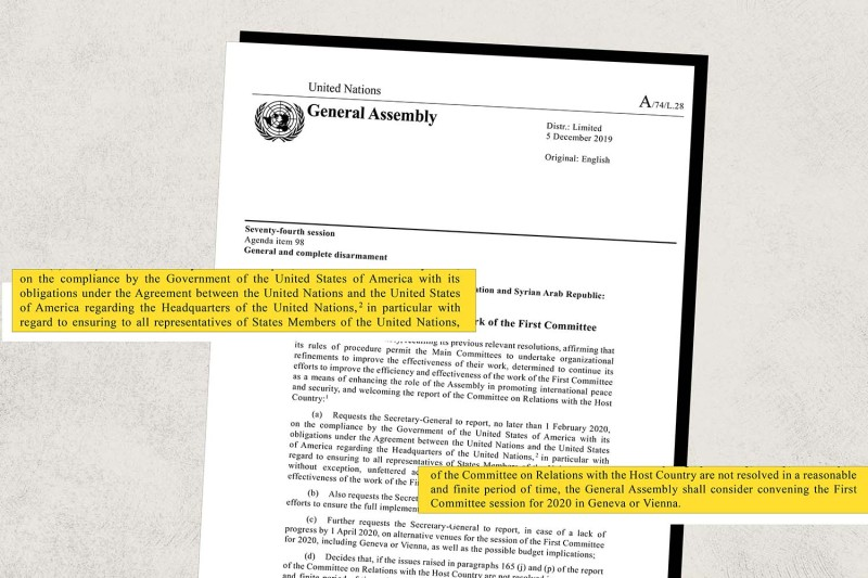Russia Proposes Holding U.N. General Assembly Meetings on Disarmament in Geneva or Vienna