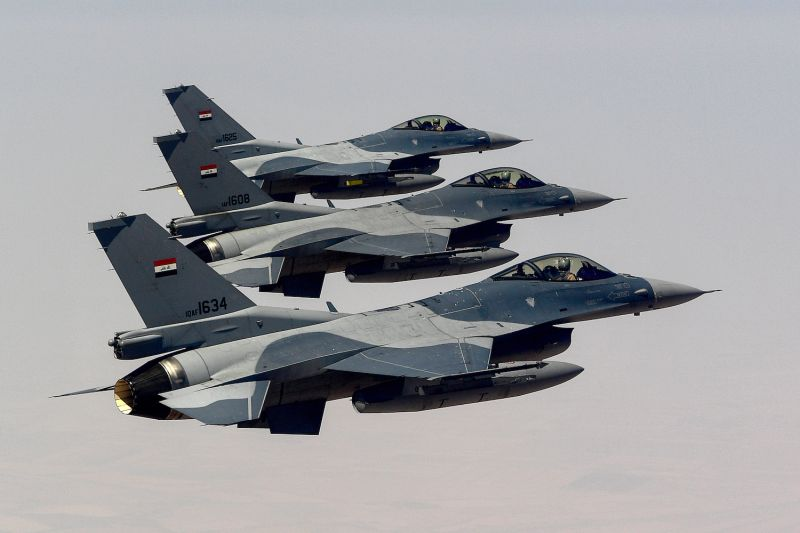 Three Iraqi Air Force F-16 Fighting Falcons