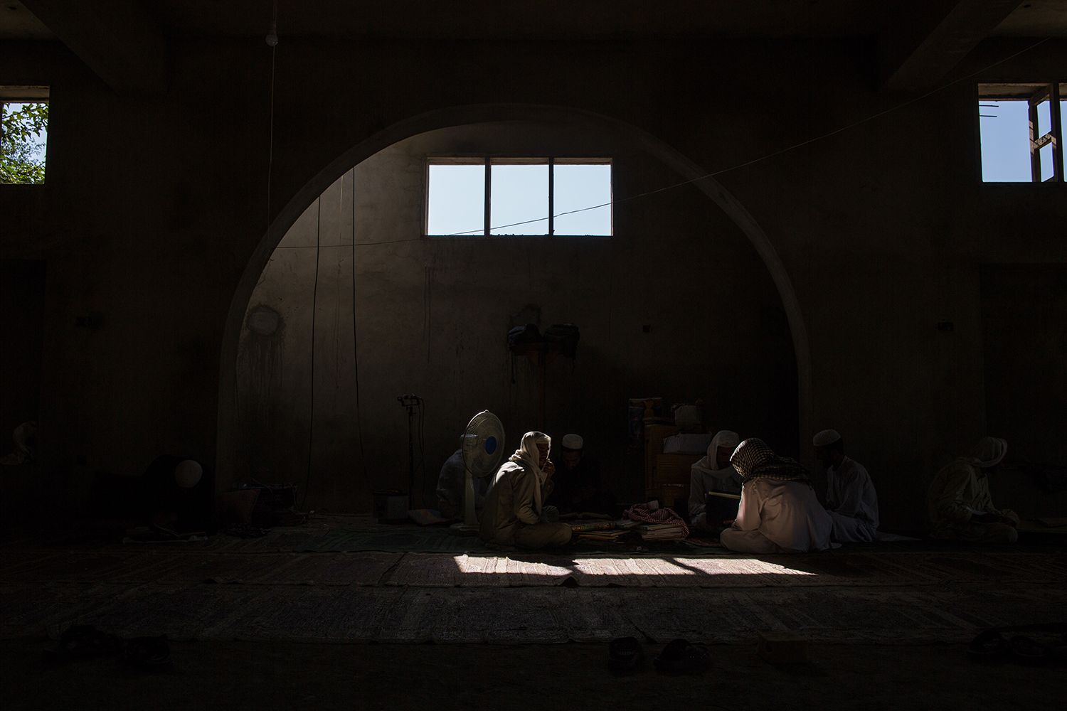 Students study at the mosque in Charakai village in Afghanistan's eastern Kunar Province on Sept. 16, 2019.