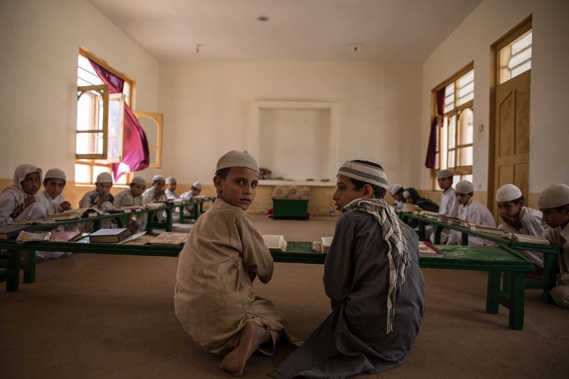Boys study at the madrassa in Lamatak village, in Afghanistan's Kunar province, on Sept. 16, 2019.