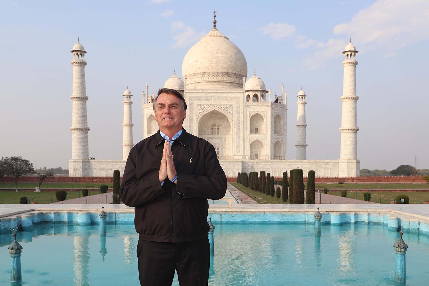 Brazilian President Jair Bolsonaro poses as he visits the Taj Mahal in Agra, India, on Jan. 27. STR/AFP via Getty Images
